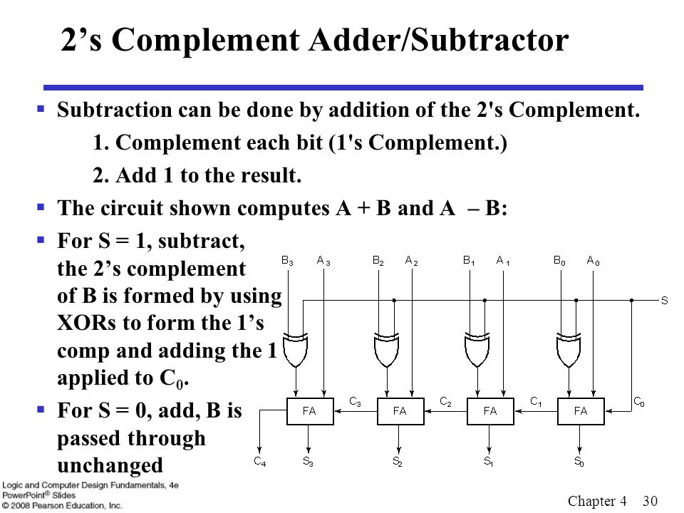 Binary subtraction using 239s complement overflow