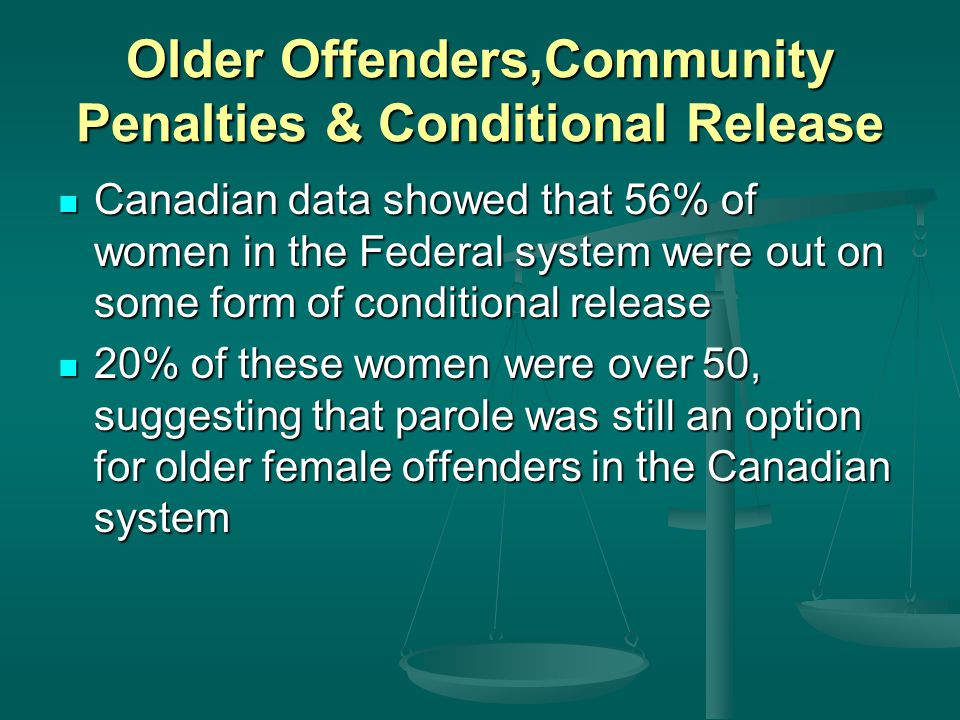 Older Offenders,Community Penalties U0026 Conditional Release