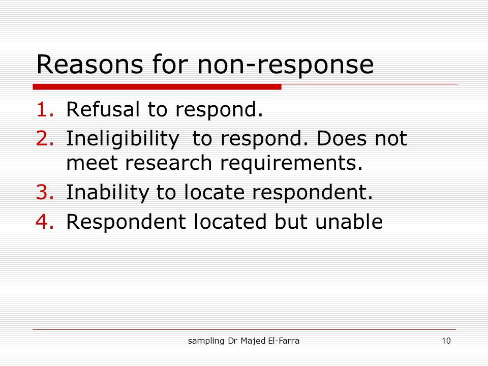 Reasons for non-response