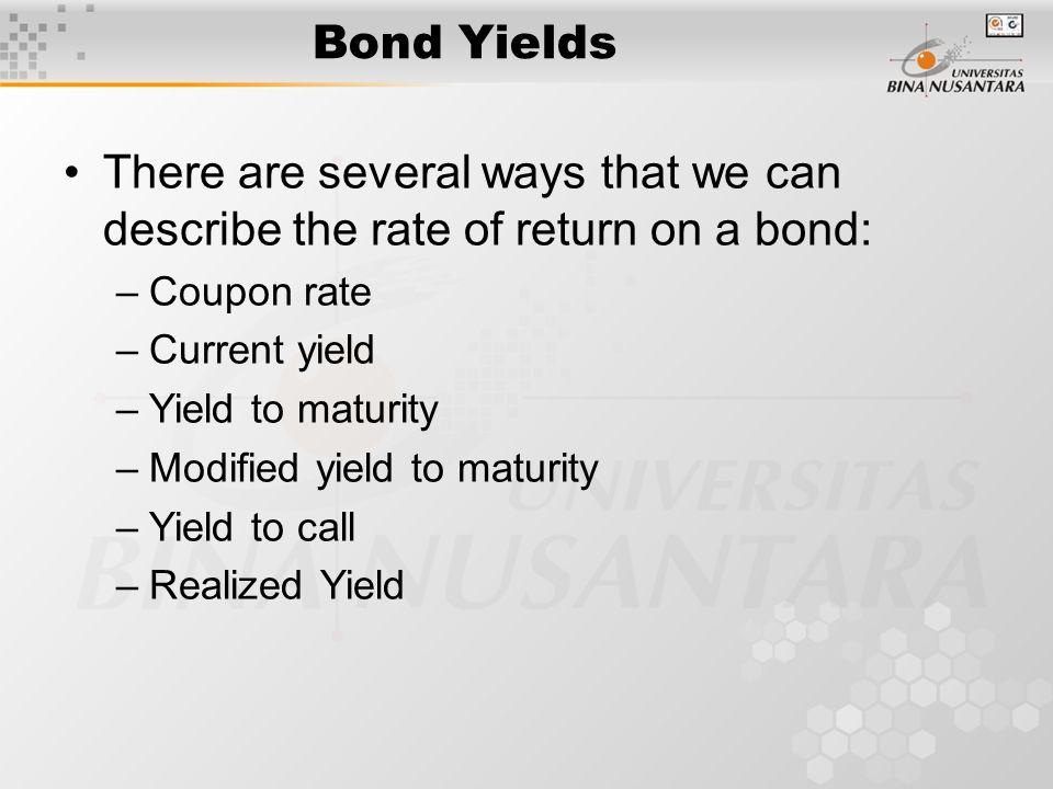 Bonds yields coupons