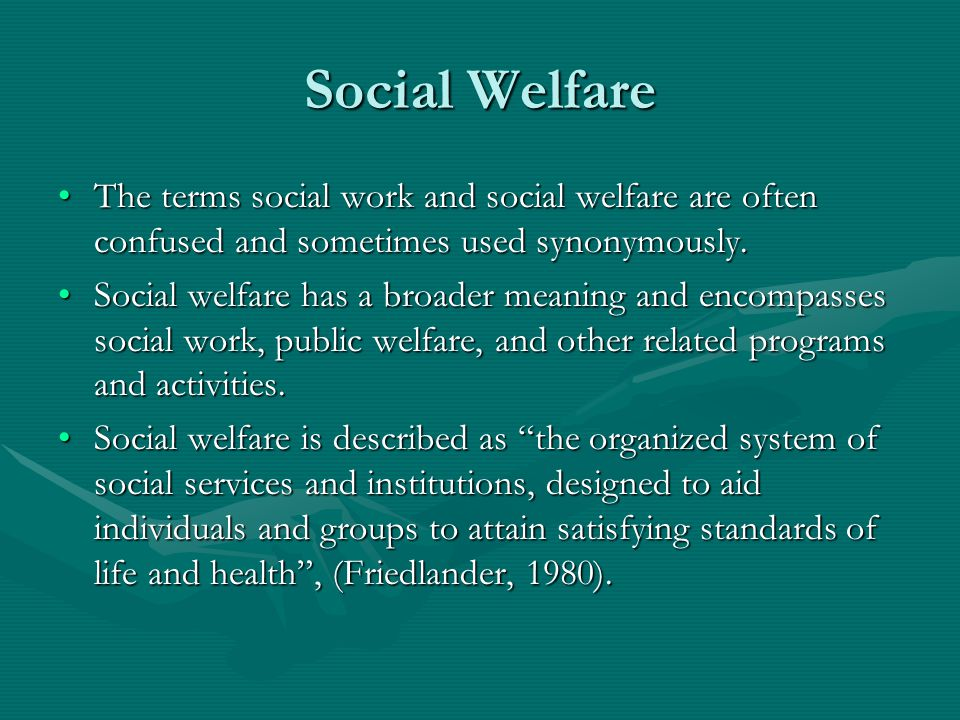relationship between social welfare and work
