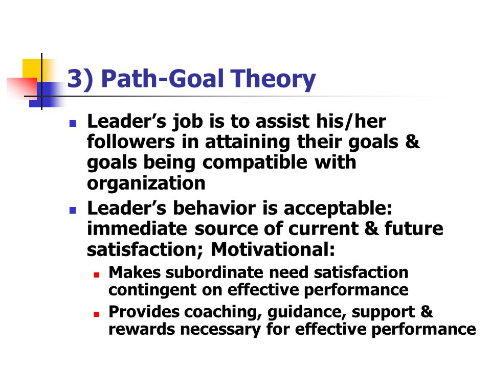 3) Path-Goal Theory Leader's job is to assist his/her followers in attaining their goals & goals being compatible with organization.