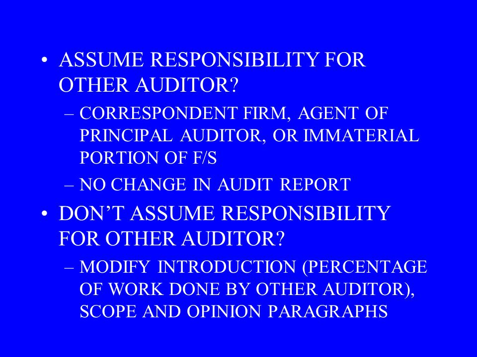 ASSUME RESPONSIBILITY FOR OTHER AUDITOR