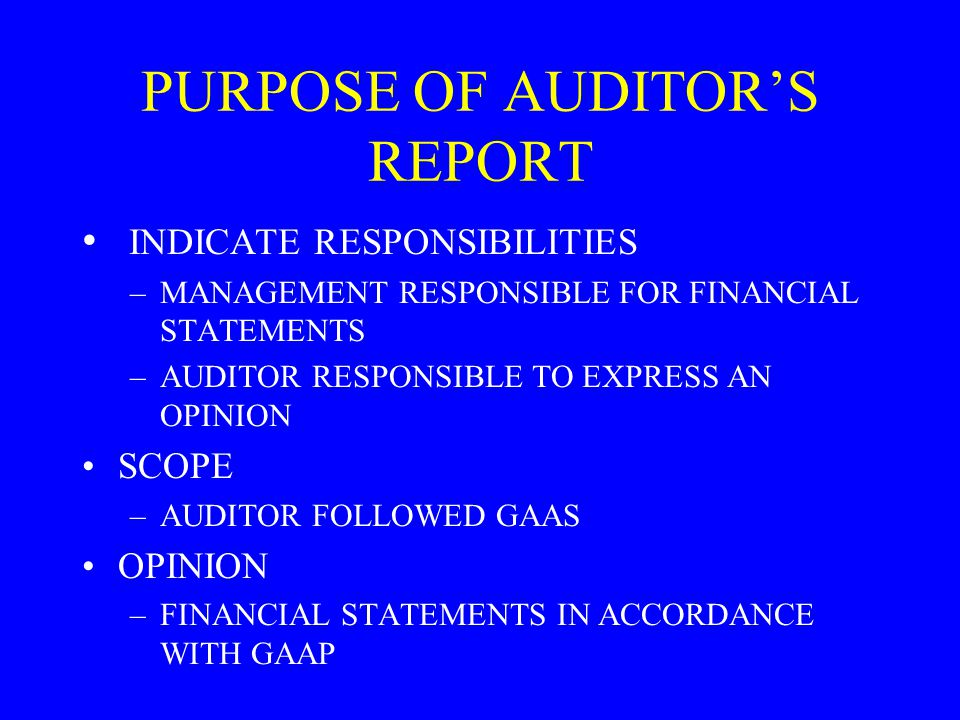 PURPOSE OF AUDITOR'S REPORT