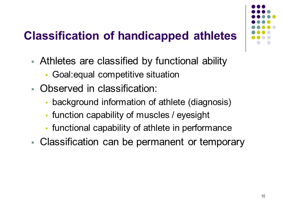 Classification of handicapped athletes