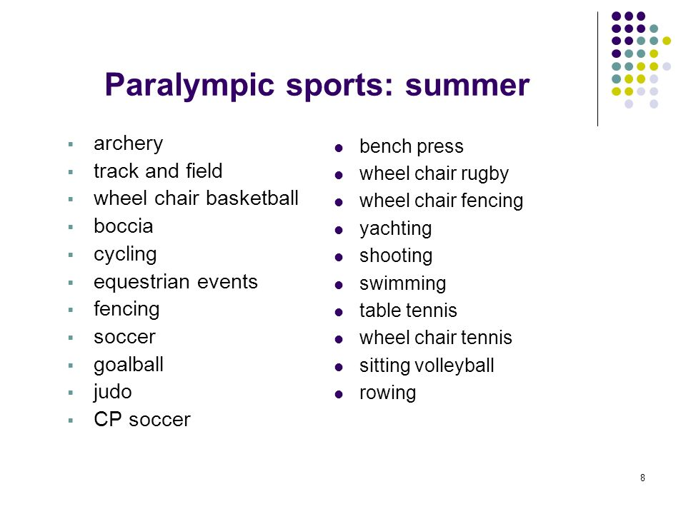 Paralympic sports: summer