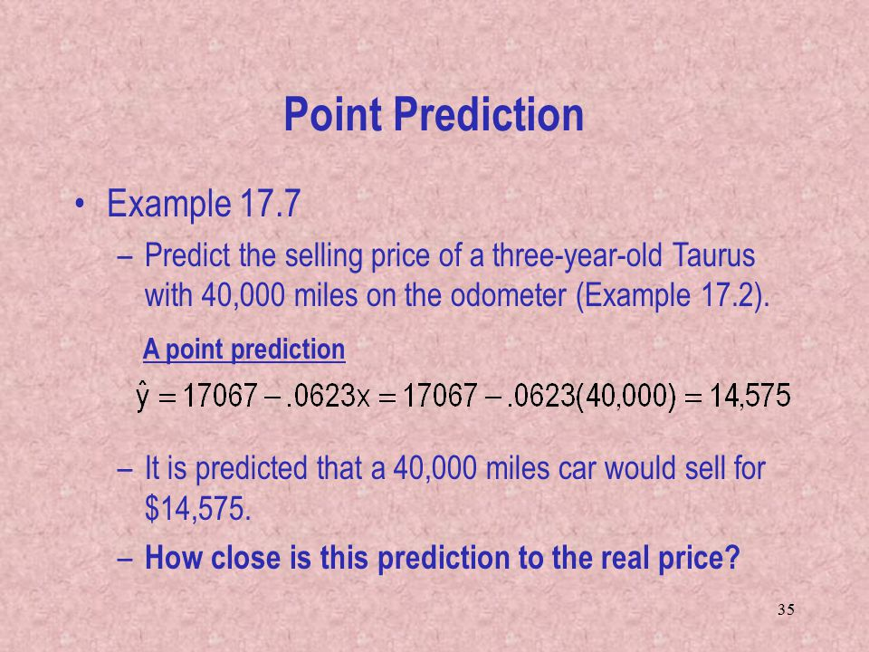 Point Prediction Example 17.7