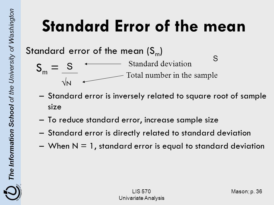 how to get the standard error of a sample mean
