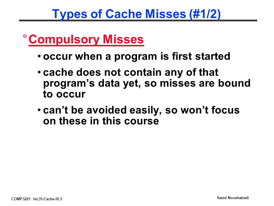 Types of Cache Misses (#1/2)