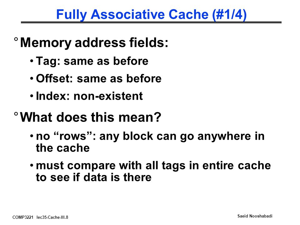 Fully Associative Cache (#1/4)
