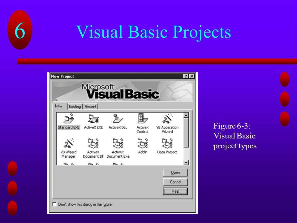 Visual Basic Projects Figure 6-3: Visual Basic project types