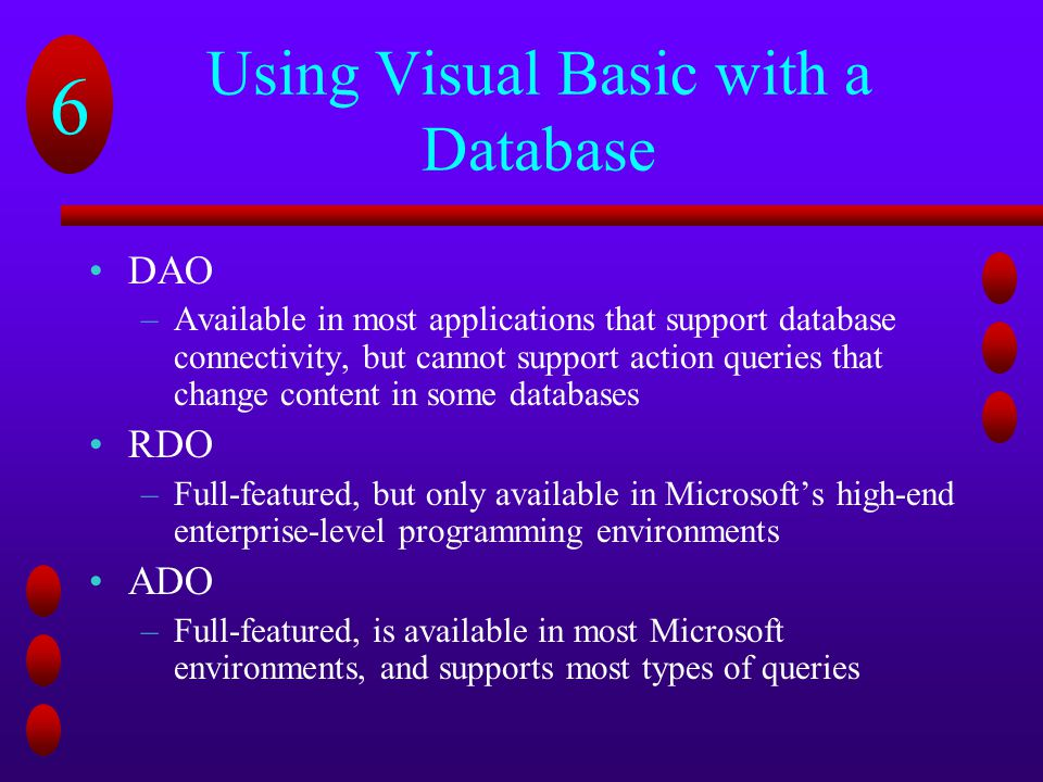 Using Visual Basic with a Database