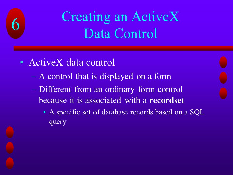 Creating an ActiveX Data Control