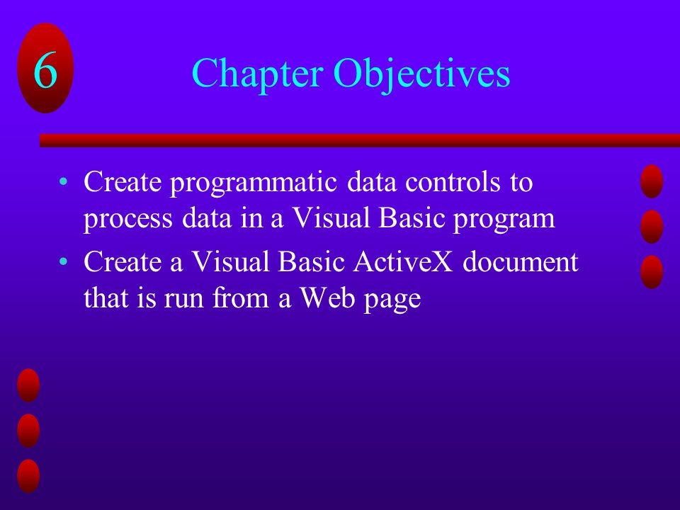 Chapter Objectives Create programmatic data controls to process data in a Visual Basic program.