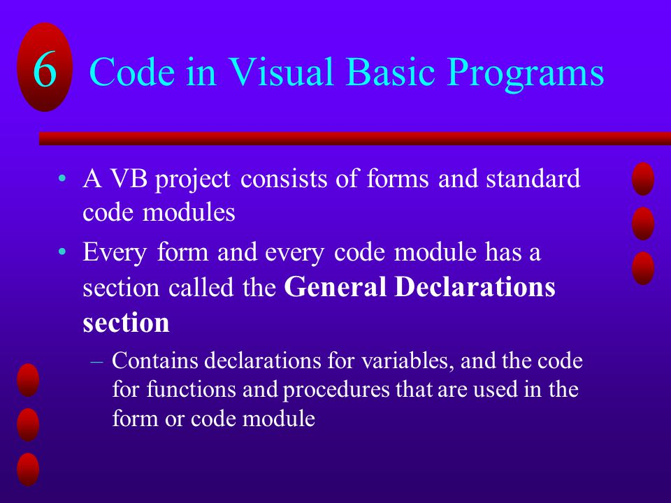 creating programs on visual basic Visual basicnet programming this method of programming is based on creating programming code that emulates real world entities, thus the word object.