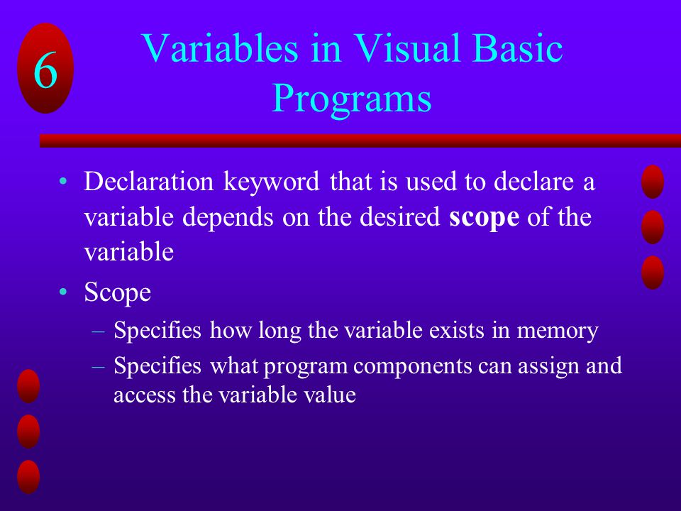 Variables in Visual Basic Programs