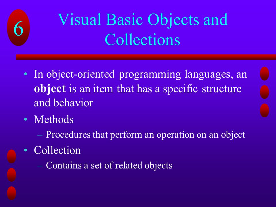Visual Basic Objects and Collections