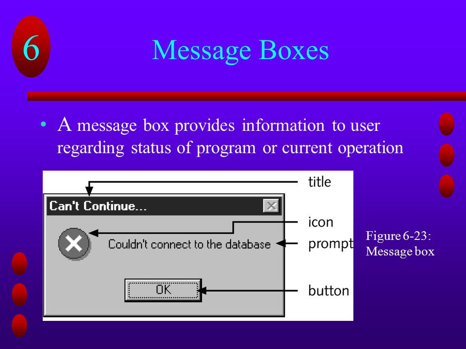 Message Boxes A message box provides information to user regarding status of program or current operation.