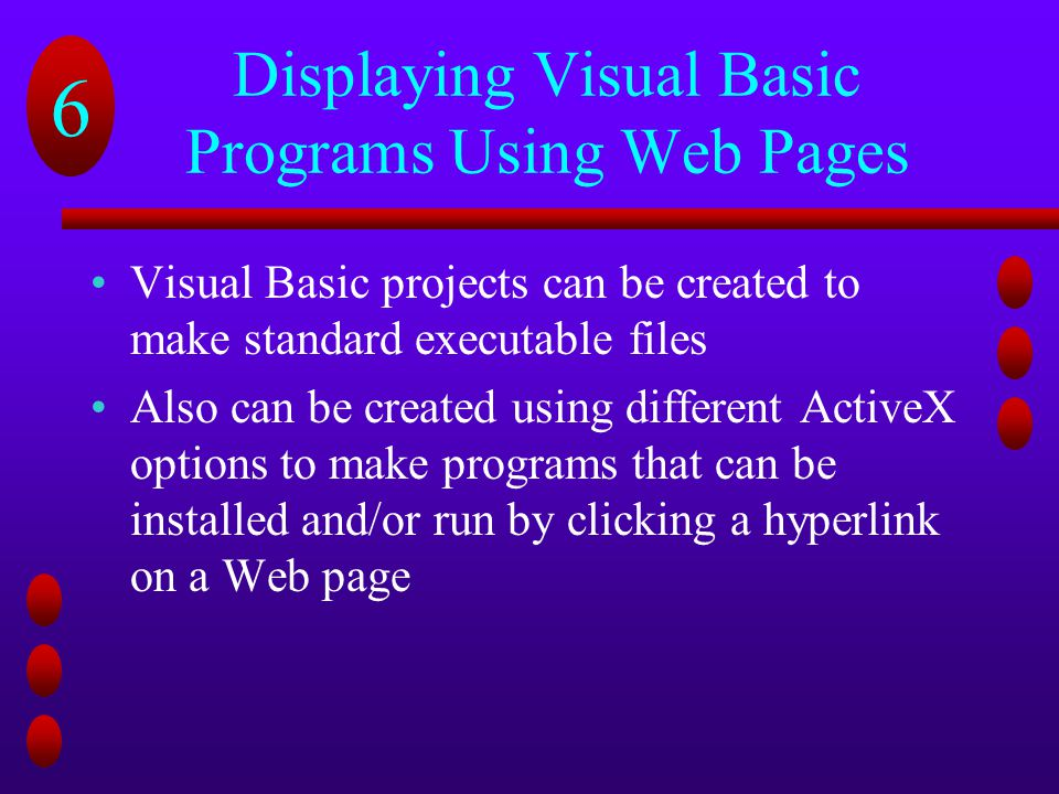 Displaying Visual Basic Programs Using Web Pages