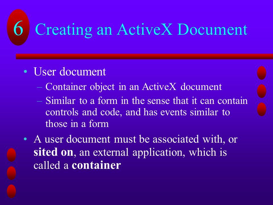 Creating an ActiveX Document