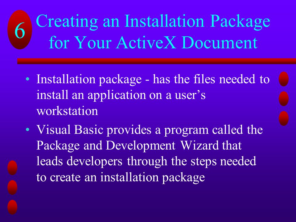 Creating an Installation Package for Your ActiveX Document