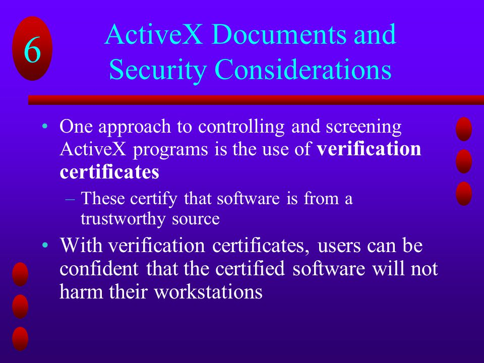 ActiveX Documents and Security Considerations