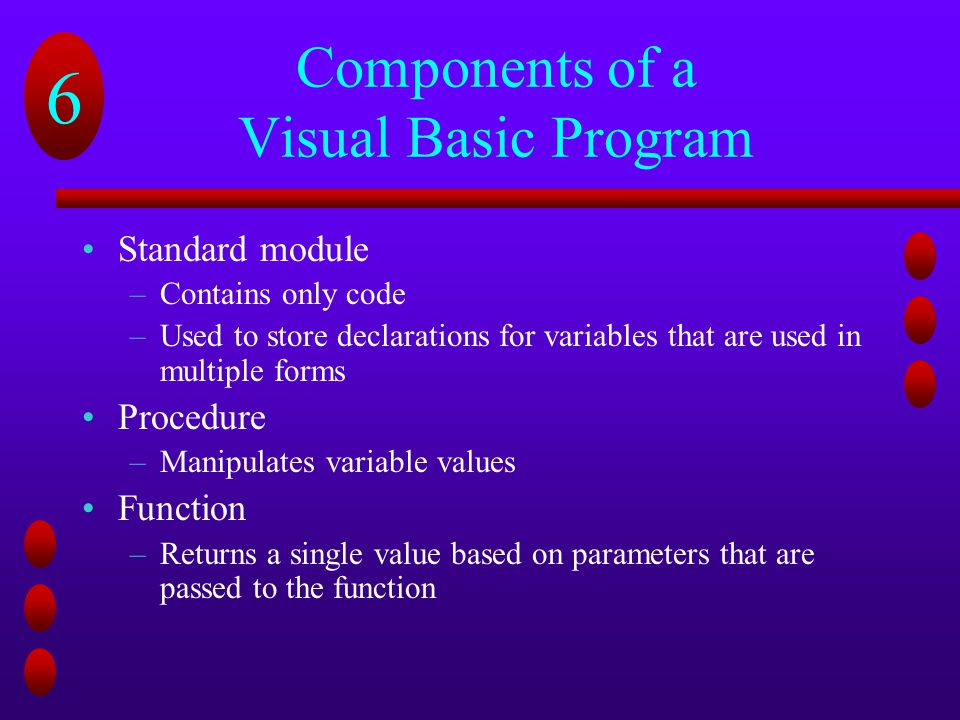 Components of a Visual Basic Program