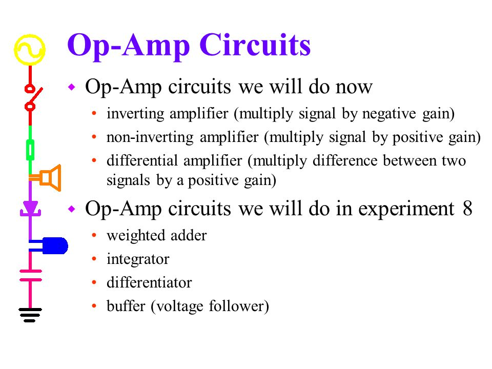 Op-Amp Circuits Op-Amp circuits we will do now