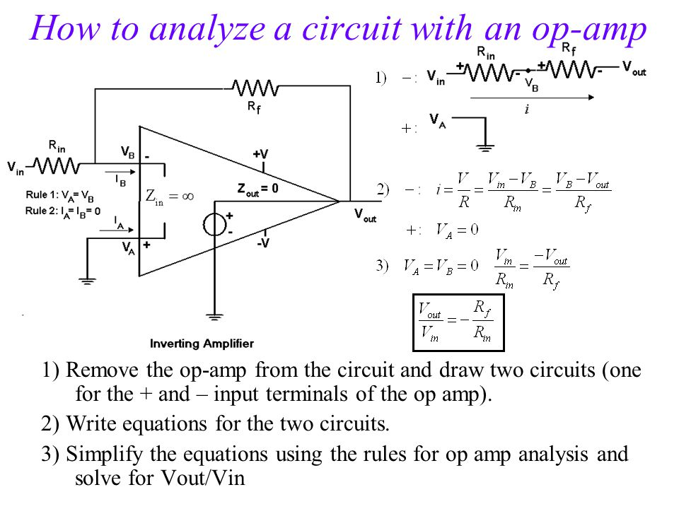 How to analyze a circuit with an op-amp