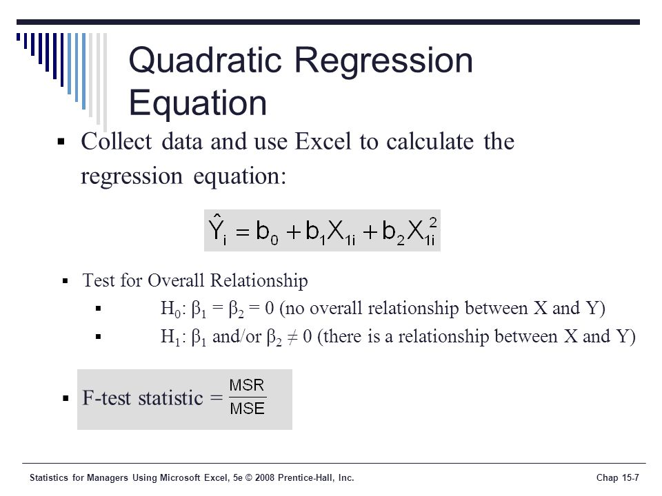 relationship between squared test excel