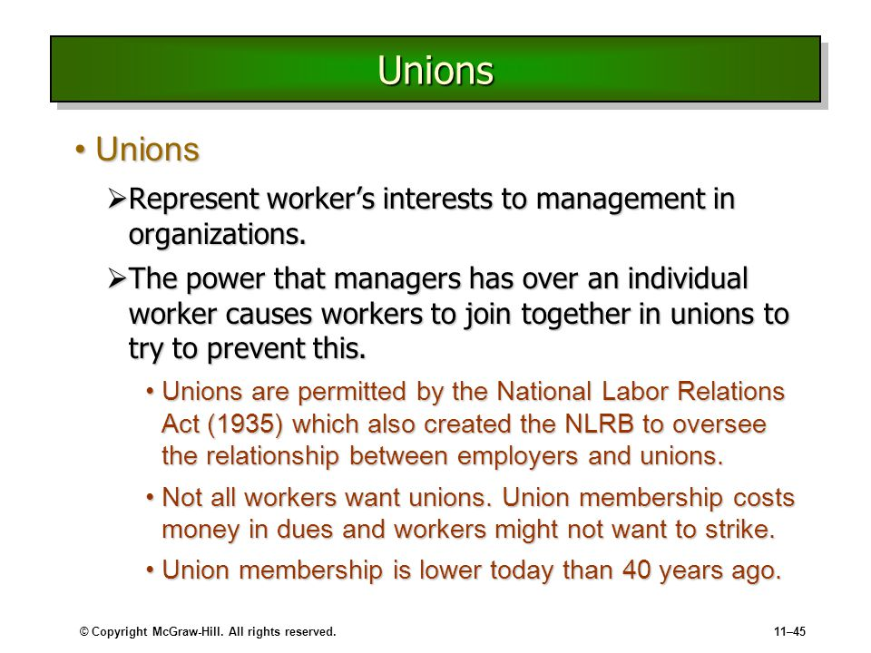 union management and organization Assignment 1: union management and organization  write a six page paper in which you: summarize the historical and legal framework which provides the foundations for the american system of labor / management relations.
