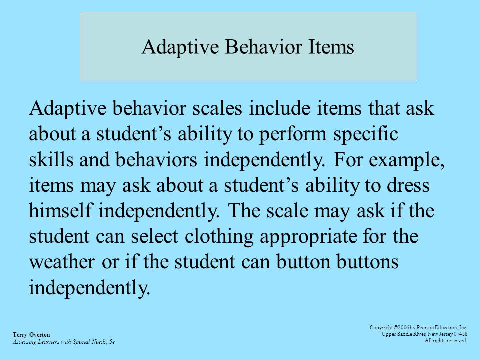 intelligence and adaptive behavior The cambridge handbook of intelligence - edited by robert j sternberg may  2011  for this second group, iq and adaptive behavior are less often in synch.