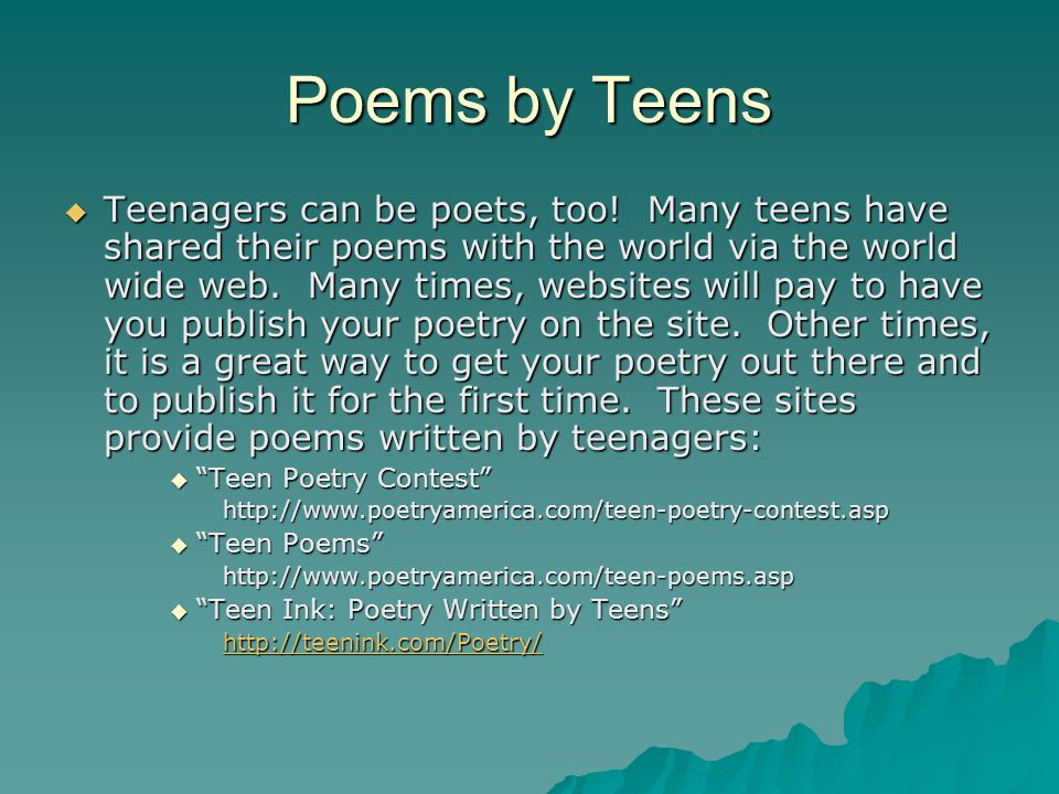 Message simply poetry competition for teen opinion you