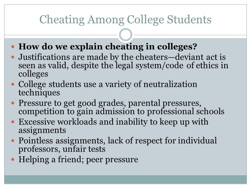 cheating among college students and how The behavior of cheating can be traced to few decades ago among high school and college students although cheating has been researched on as early as from 1970s, it is a behavior that was not common in schools and colleges given the strict rules and disciplinary action that were associated to it.