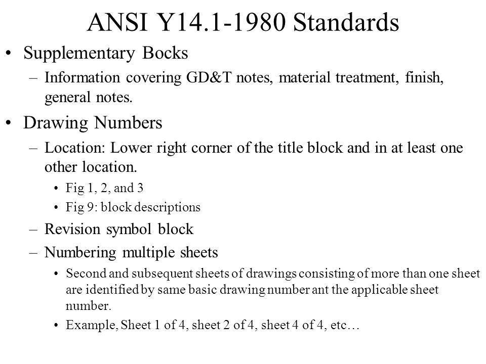 ANSI Y14.1-1980 Standards Supplementary Bocks Drawing Numbers
