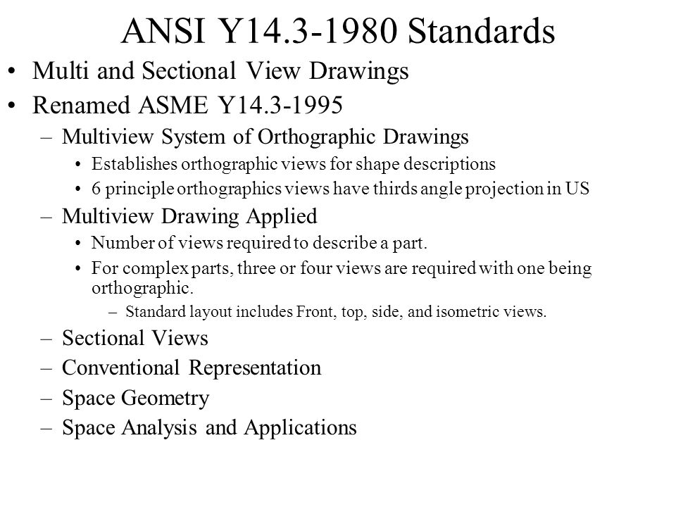 ANSI Y14.3-1980 Standards Multi and Sectional View Drawings