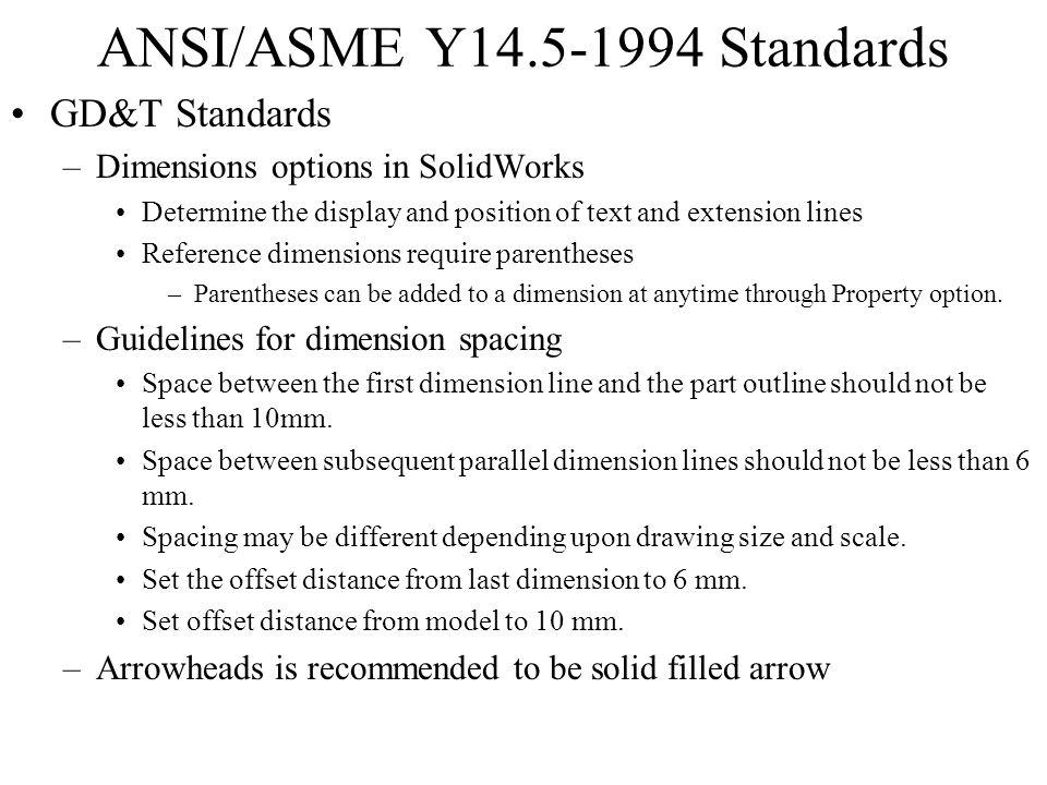 ANSI/ASME Y14.5-1994 Standards