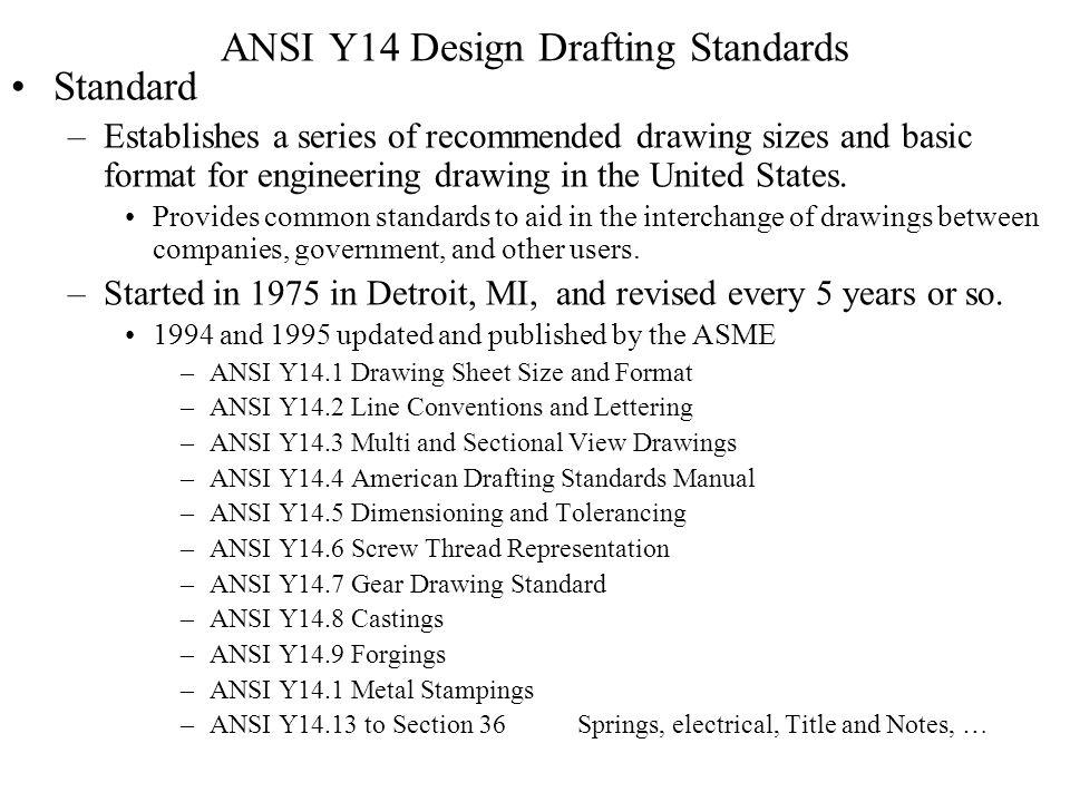 ANSI Y14 Design Drafting Standards
