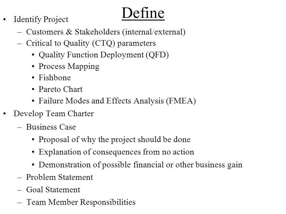 Define Identify Project Customers & Stakeholders (internal/external)