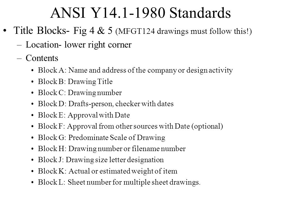 ANSI Y14.1-1980 Standards Title Blocks- Fig 4 & 5 (MFGT124 drawings must follow this!) Location- lower right corner.