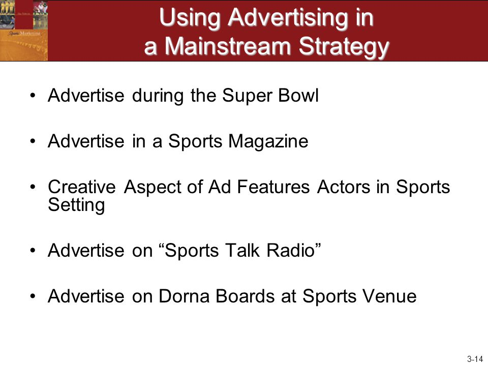 Using Advertising in a Mainstream Strategy