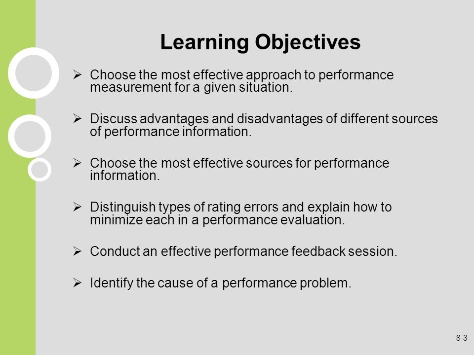 Learning Objectives Choose the most effective approach to performance measurement for a given situation.