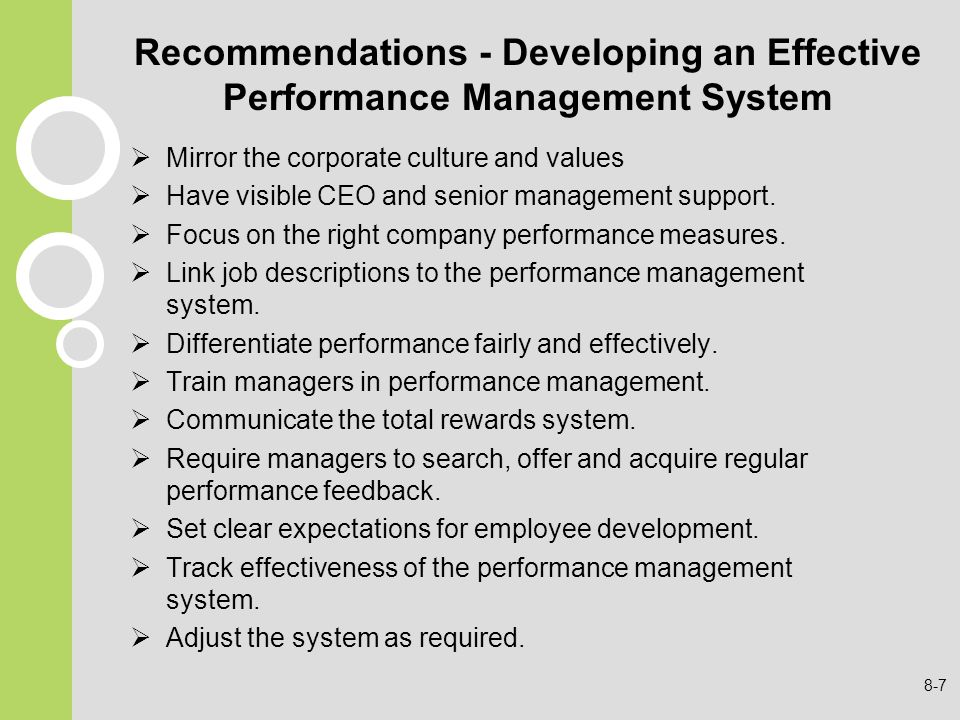 Recommendations - Developing an Effective Performance Management System
