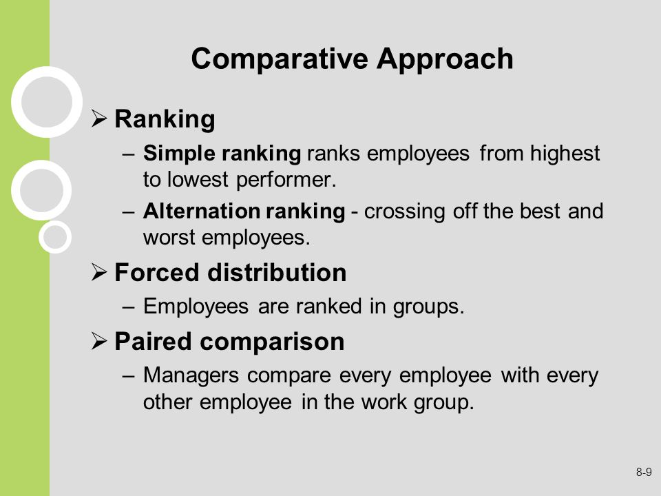 Comparative Approach Ranking Forced distribution Paired comparison