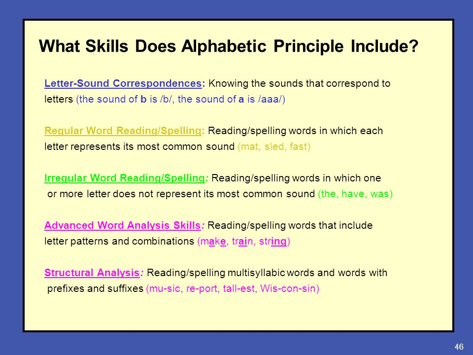 Institute on beginning reading i cohort b ppt download 46 what skills does alphabetic principle include letter sound correspondences knowing expocarfo