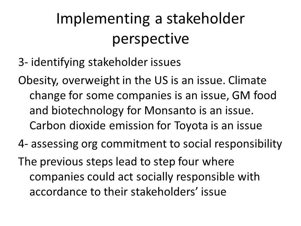 Implementing a stakeholder perspective