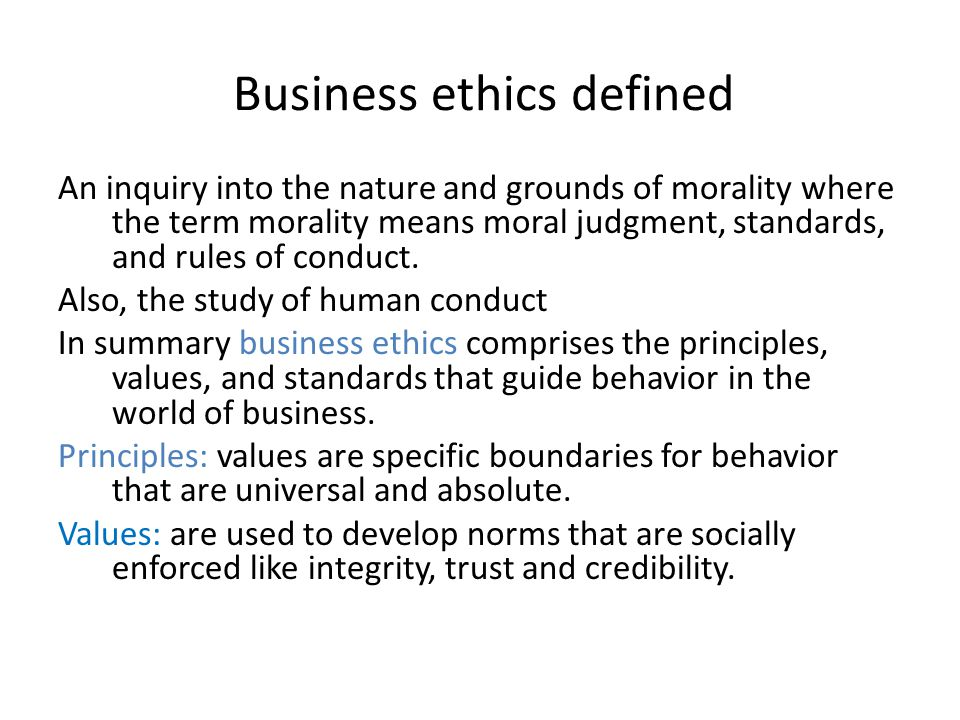 Business ethics defined
