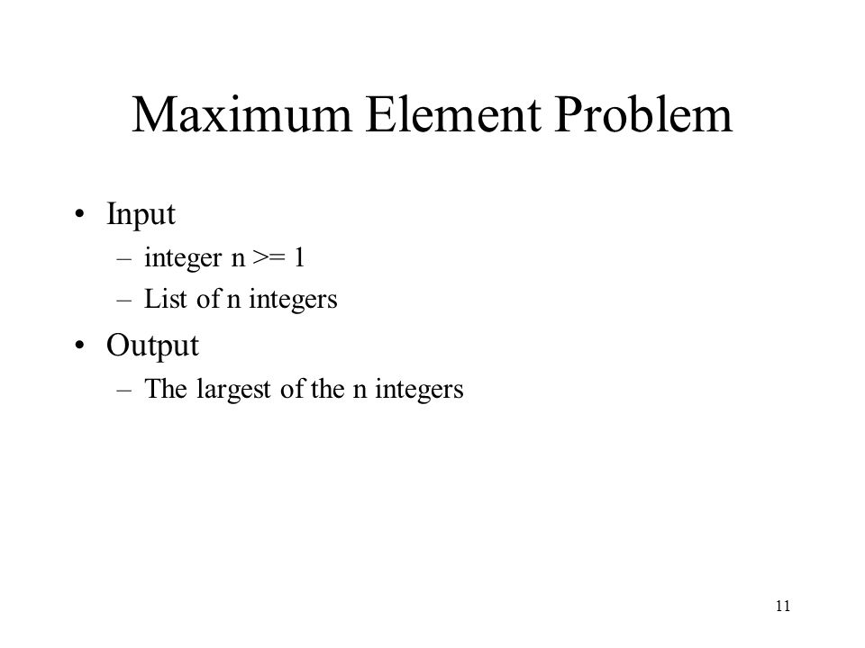 Maximum Element Problem