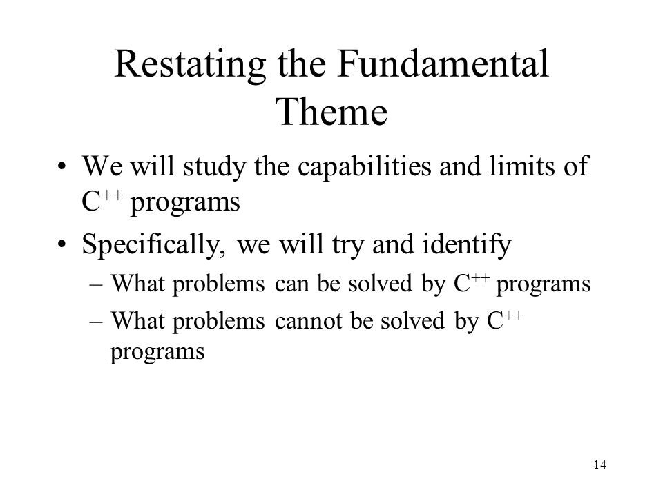 Restating the Fundamental Theme