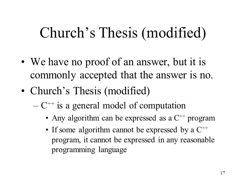 Church's Thesis (modified)